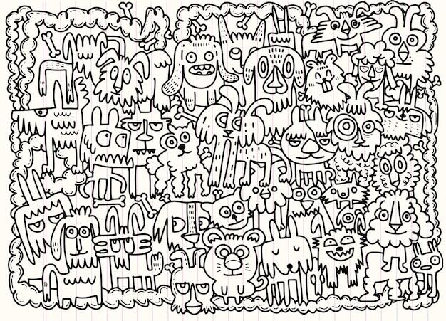 Ręcznie rysowane doodle zestaw śmieszne psy