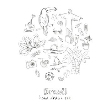 Ręcznie rysowane doodle zestaw symboli brazylii
