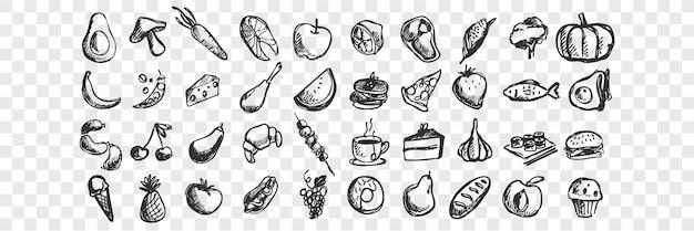 Ręcznie rysowane doodle zestaw żywności