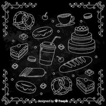 Ręcznie rysowane doodle żywności tło