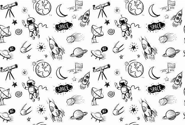 Ręcznie rysowane doodles kreskówka zestaw przestrzeni na czarnym tle