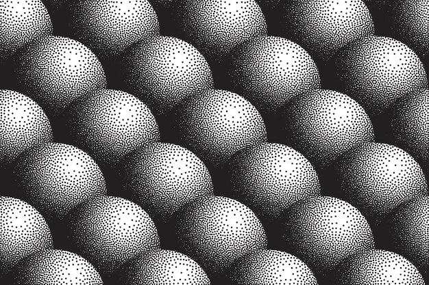 Ręcznie rysowane dotwork 3d kule wzór streszczenie retro tło