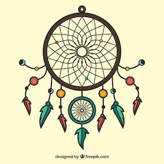 Ręcznie rysowane dreamcatcher ornament
