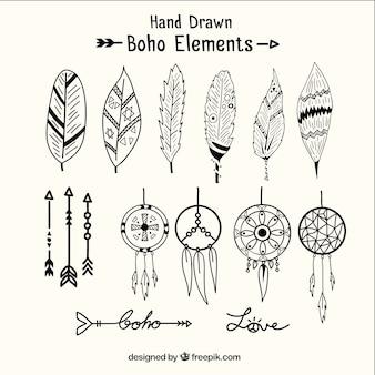 Ręcznie rysowane dreamcatchers i elementy etniczne