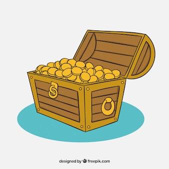 Ręcznie rysowane drewniane skrzynia skarbów
