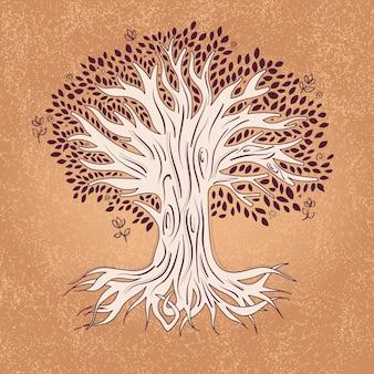 Ręcznie rysowane drzewa życia z liśćmi