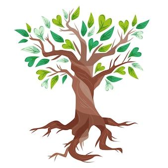 Ręcznie rysowane drzewa życia z pięknymi zielonymi liśćmi