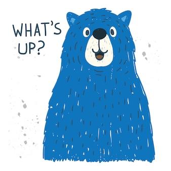 Ręcznie rysowane duży niedźwiedź na t shirt