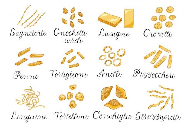 Ręcznie rysowane duży zestaw różnych rodzajów włoskiego makaronu. ilustracja wektorowa, kolorowe.