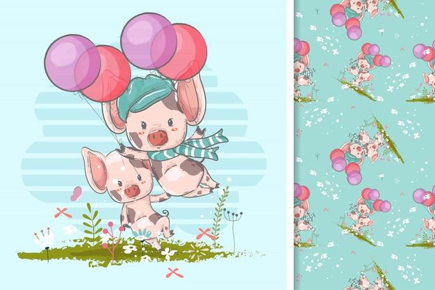 Ręcznie rysowane dwie małe świnki z balonami