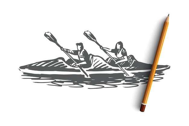 Ręcznie rysowane dwie osoby w szkic koncepcji kajaka