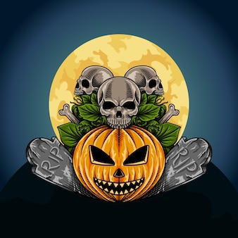 Ręcznie rysowane dynia halloween z ilustracją szkieletu