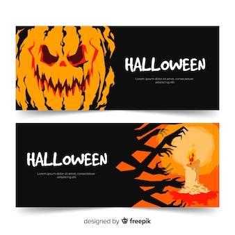 Ręcznie rysowane dynie halloween banery