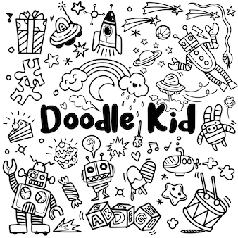 Ręcznie rysowane dzieci doodle zestaw