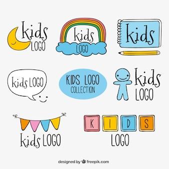 Ręcznie Rysowane Dzieci Kolekcja Logo Darmowych Wektorów