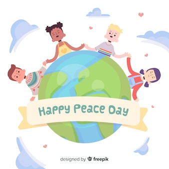 Ręcznie rysowane dzieci trzymając się za ręce na dzień pokoju
