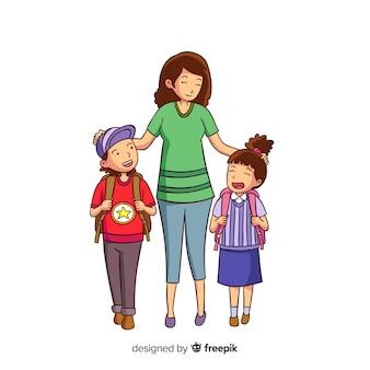 Ręcznie rysowane dzieci w wieku szkolnym z rodzicami