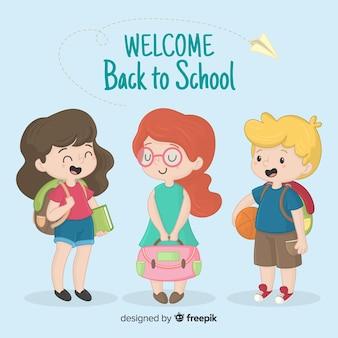 Ręcznie rysowane dzieci z powrotem do kolekcji szkolnej