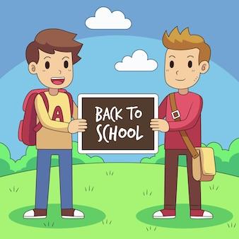 Ręcznie rysowane dzieci z powrotem do koncepcji szkoły