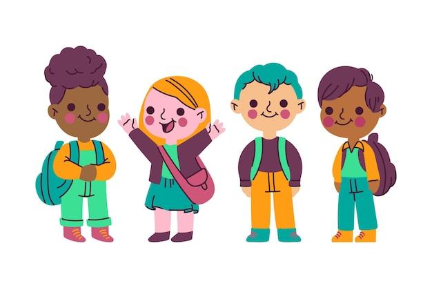 Ręcznie rysowane dzieci z powrotem do szkoły ilustracji kolekcji
