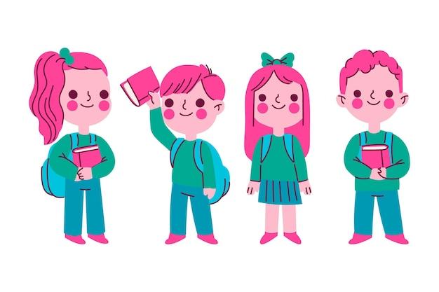 Ręcznie rysowane dzieci z powrotem do szkoły ilustracji zestaw