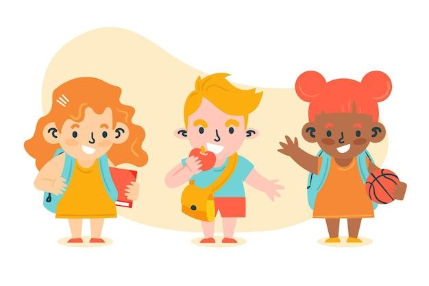 Ręcznie rysowane dzieci z powrotem do szkoły