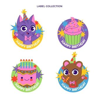 Ręcznie rysowane dziecinna etykieta urodzinowa i odznaki