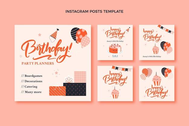 Ręcznie rysowane dziecinna kolekcja postów na instagramie urodzinowym
