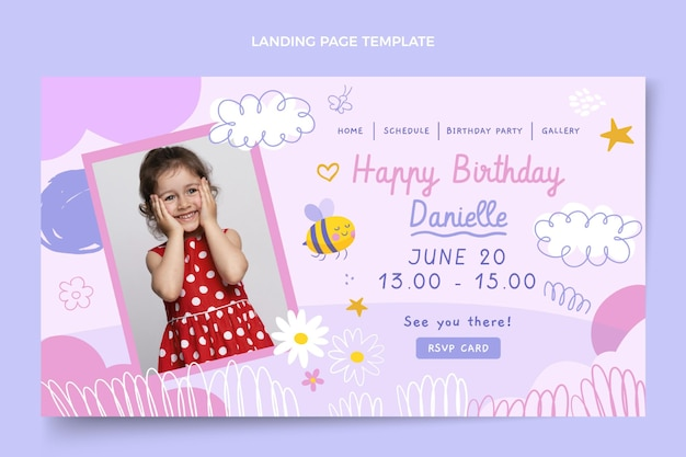 Ręcznie rysowane dziecinna strona docelowa urodzin birthday