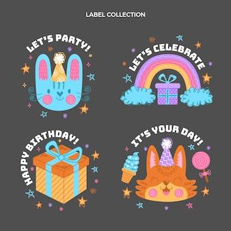 Ręcznie rysowane dziecinne etykiety urodzinowe
