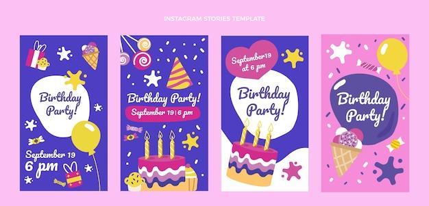 Ręcznie rysowane dziecinne historie ig urodzinowe