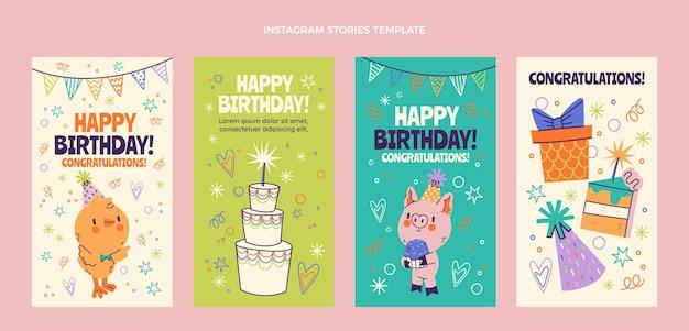 Ręcznie rysowane dziecinne historie urodzinowe na instagramie