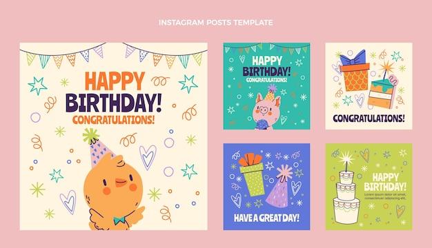 Ręcznie rysowane dziecinne posty urodzinowe na instagramie