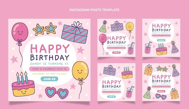 Ręcznie rysowane dziecinne urodziny ig post