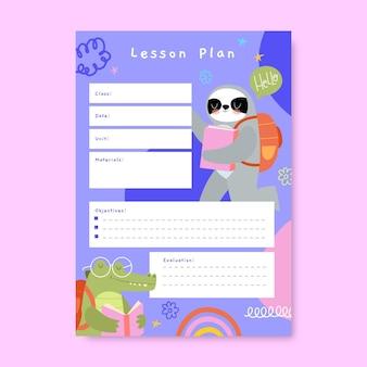 Ręcznie rysowane dziecinny plan lekcji elementarnych zwierząt