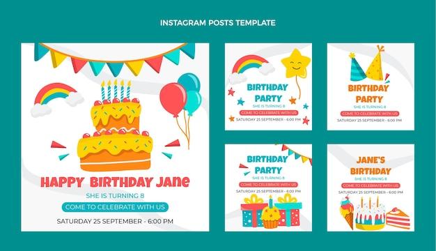Ręcznie rysowane dziecinny post na instagramie urodzinowym