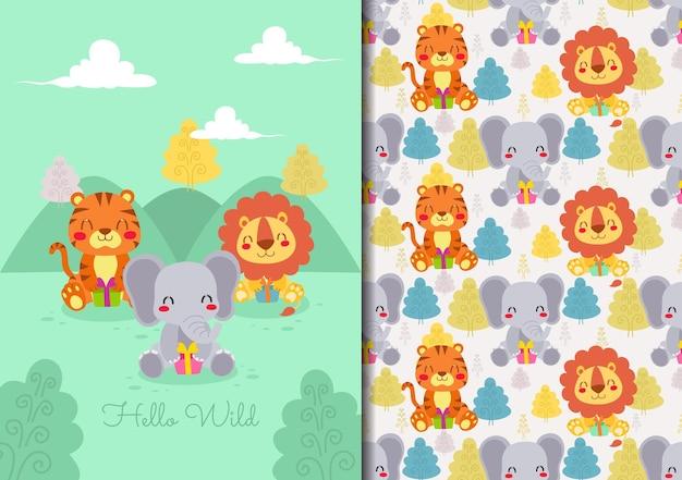 Ręcznie rysowane dziecinny wzór zestaw z małymi zwierzętami otwierającymi prezenty na wolności