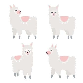 Ręcznie rysowane dziecinny zestaw z alpakami w różnych pozach