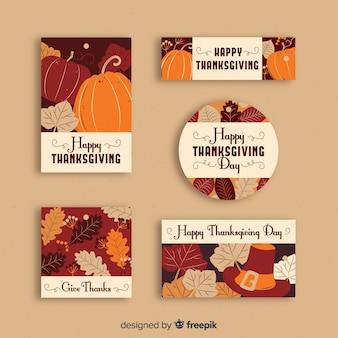 Ręcznie rysowane dziękczynienia kolekcja etykiet