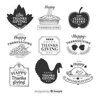 Ręcznie rysowane dziękczynienia kolekcja odznak