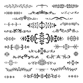 Ręcznie rysowane dzielniki. zestaw dekoracji ozdobnych obramowań
