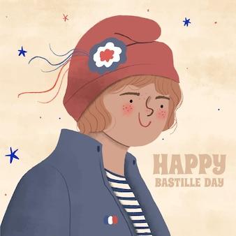 Ręcznie rysowane dzień bastylii