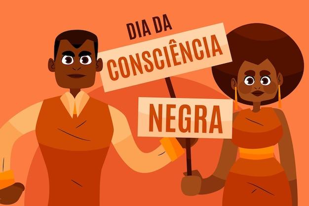 Ręcznie rysowane dzień consciencia negra