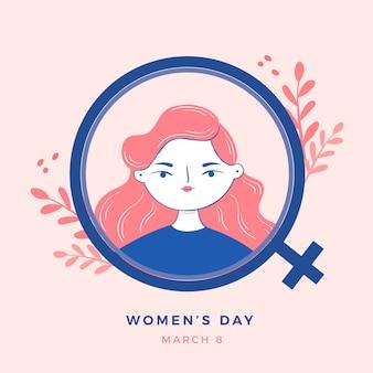 Ręcznie rysowane dzień kobiet z kobieta znak