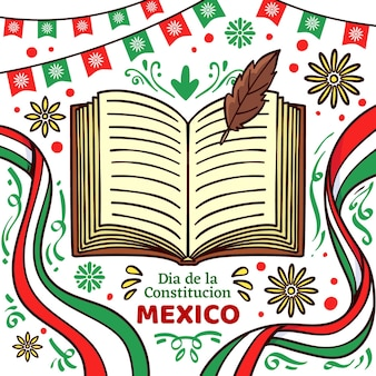 Ręcznie rysowane dzień konstytucji meksyku