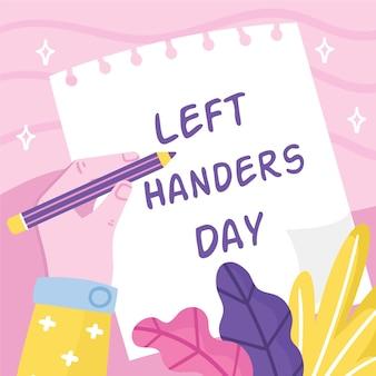 Ręcznie rysowane dzień leworęcznych