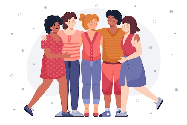 Ręcznie rysowane dzień młodzieży - ludzie przytulanie razem