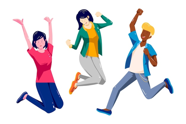 Ręcznie rysowane dzień młodzieży - skoki ludzi