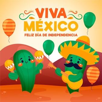 Ręcznie rysowane dzień niepodległości meksyku