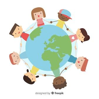 Ręcznie rysowane dzień pokoju z dziećmi